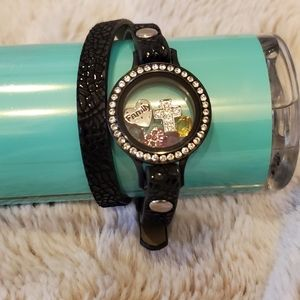 Origami Owl Like New Black Wrap Bracelet w/charms!